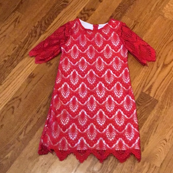 Rare Editions Other - NWOT! Gorgeous delicate red lace dress for girls